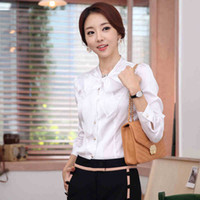 Polyester Women Bow Plus Size XXL Brand New Arrival Summer 2014 Blouses Women Elegant OL style colcci dudalina White Free Shipping w41