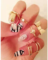 Wholesale New fashion Jewelry bow skull heart finger rings set nice gift for women girl ladie s set R1003