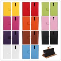 achat en gros de couvertures xperia lt26i-11Colors véritable pochette housse pour SONY Xperia S Lt26i Stand Design luxe portefeuille en cuir véritable téléphone sac pochette