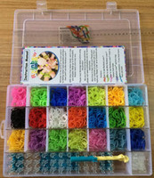 Charm Bracelets   2014 Novelty Colorful family DIY rainbow Loom Bands Bracelet KIT 4200 pcs bands and hook complete kits in PVC box MOQ 24pcs Free DHL