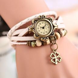 Wholesale Retro Gothic Watches Woman Quartz Watch Ladies Braided tassels Leather Bracelet Watches Lady Fashion Watch Clock Lucky grass