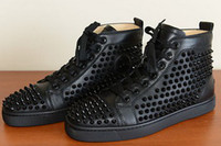 Wholesale cheap mens sneakers designerlady red bottoms black lambskin leather stud spikes flat high boots shoes