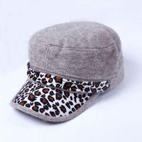 Red baseball glove laces - Autumn new Korean fashion leopard fur hat cap baseball cap lady holding rabbit
