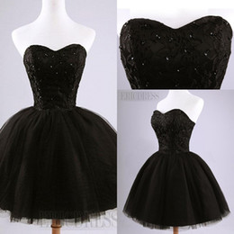 Black Mini Short Tulle Party Dresses Pretty Strapless Beading Lace-Up Back Short Homecoming Dress Sweet 16 Dresses