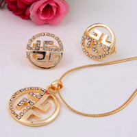 Wedding Jewelry Sets Celtic Gift Elegant 18K Gold Plated Full Rhinestone Crystal Pendant Necklace Earrings Sets Fashion Women Dress Costume Pendant Jewelry Sets