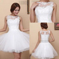 Tulle amazing mini dress - 2015 Scoop Neck Amazing A Line Appliques Lace Prom Party Dresses Zipper Up Sweet Dress