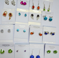 Wholesale 100Pairs mixed SWAROVSKI elements crystal earrings Fashion Earrings earrings New fashion jewelry wedding earrings Best gift