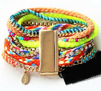 Wholesale Fashion colorful multilayer women leather bracelets Magnet clasp hand woven bangles bracelet