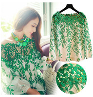 Wholesale QT67 new women fashion green Leaf lace Hollow fashion long sleeve lady Blouses t shirt M XL