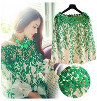 lady lace blouse - QT67 new women fashion green Leaf lace Hollow fashion long sleeve lady Blouses t shirt M XL