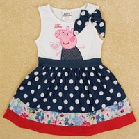 Wholesale Nova Fashion girls summer dress cartoon peppa pig white polka dots spandex sleeveless baby dress for party kids patchwork clothes H5000