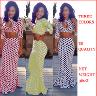 Wholesale Hot Sale Fashion Lady Women s Sexy Suits dresses new two piece Polka Dot package hip nightclub floor Length celeb Bandage bodycon Maxi dress
