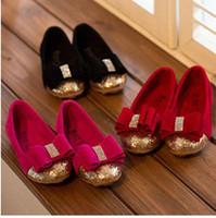 Wholesale 2014 Autumn New Children Korean Style Candy Color Paillette Princess Shoes Kids Lace Bow Leisure Shoes Red Black Rose Yard I1585