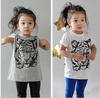 Girl Summer  - europe fashion kids boy girl tiger t-shirt tee children's girls boys tiger print short sleeve tshirts topsk