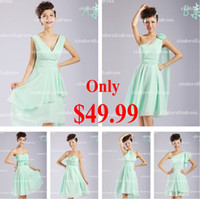 Reference Images Ruffle Sleeveless 2015 Under $50 Free Shipping A Line Cheap Mint Bridesmaid Dresses Knee Length Cheap Short Bridal Wedding Party Prom Dress Baech Gown CPS008