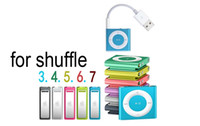 Wholesale USB Charger Cable for Apple iPod Shuffle G G G G G Data Sync Adapter Cable with mm Jack cm Transfer Cables