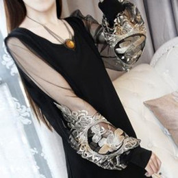 Wholesale 2014 New Retro Vintage Women s Dresses Colors Embroidery Lantern Long Sleeve Chiffon Dress Casual S XXXL Plus Size Dresses With Sleeves