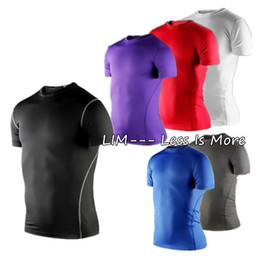 Wholesale S XXL Men Sport Compression Base Layers Under Tops Shirts Skins Gear Wear Sport Round Neck Short sleeve Thermal Tees Top