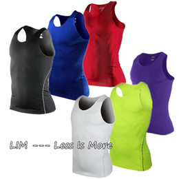 Wholesale S XXL Men s Boy Body Compression Base Layer Sleeveless Men Sport Vest Thermal Under Top Tees Tank Tops High Flexibility FreeShip