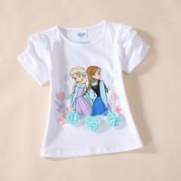 Girl Summer Short 2014 Brand New Cute Frozen Princess Elsa Anna 2 Princess Girls short sleeve t-shirt top tees cartoon cotton t shirts