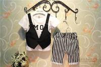 Boy Summer  Hot Helling Children Fashion Cool Clothing Set Waistcoat T Shirt + Stripe Shorts 2pcs Baby Boy Casual Suit 2-7Age Kids Set 100-140