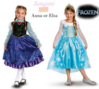 Wholesale Frozen Elsa Anna Princess summer long sleeve dress christening Birthday dresses