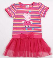 Girl Summer  - Pepe peppa pig pig summer new white gauze stripe splicing embroidered short sleeve T-shirt H4162d