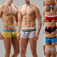Men Boxers & Boy Shorts Christmas Wholesale-7 Color See Through Penis Pouch Sexy Sheer Mens underwear boxers underwear boxer shorts Men's underpants boxer Free Shipping