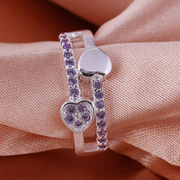 Wholesale 2014 Deluxe Design hot sell sterling Silver fashion Amethyst Beautiful Cute pretty women Austria Crystal Wedding ring jewelry R395