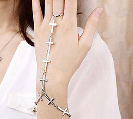 New Bracelet Chain Ring Cross Link Bracelets Brief Punk Bracelets Fashionable Ring Chain with Band Ring for Women Cross Back Chain