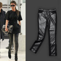 Fashion Splice Imitation Denim Leggings Thick Spliced Soft PU