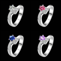 Wholesale 4 color Gorgeous Design sterling Silver fashion Amethyst Beautiful Cute pretty women Austria Crystal Wedding ring jewelry R383