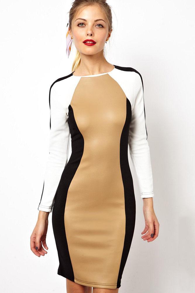 Winter Block Panels Stylish Bodycon Pencil Dress Lc6227 Work Wear ...
