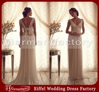 Reference Images anna black - Anna Campbell Wedding Dresses Summer Elegant A line Cap Sleeve Sweep Train Champagne Lace and Chiffon Beach Wedding Dresses with Bow