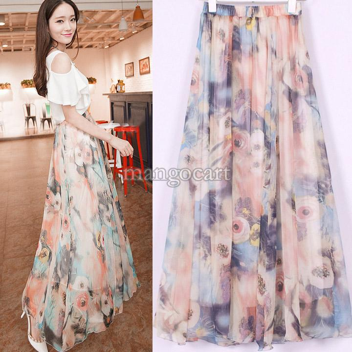 Floral Skirt Long - Dress Ala
