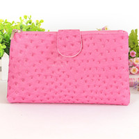 Wholesale Large Double Folding Wash bag Cosmetic Clutch Ostrich Pink Waterproof PVC are welcome