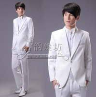 Wholesale Huang Xiaoming Men dress tuxedo white British style Slim presided loading studio photos