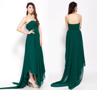 Reference Images handkerchief dresses - WM Fashion Stylish New Dark Green Handkerchief Hem Silk chiffon Party Celebrity Prom Gown Sweetheart Empire Sash Ruffles Evening Dress