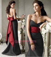 Bow Knot floor length satin dress - 2014 Mermaid Satin Bridesmaid Dresses Sweetheart Backless with Big Red Bow Empire Floor Length Black Formal Maid of Honor Dress CPS014