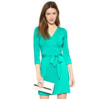 Wholesale European and American design malachite stretch wrap silk knit waistband Slim Dress