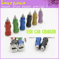 Car Chargers Universal  Bling Glitter Mini USB Car Charger Adapter Colorful 1A fluorescence Bullet Car Charger for iphone 4 4S iphone 5 5G Samsung S4 S5 Note 3 200P