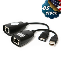 Wholesale USB UTP Extender Over Single RJ45 Ethernet CAT E RJ45 LAN Cable Black US local postage L01558