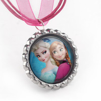 Wholesale Hot Pink Ribbon Necklace Charm Frozen Necklace Elsa and Anna Flatback Cameo Cabochon Dress Accessories