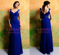 Wholesale 2014 Cheap In Stock Bridesmaid Dress Royal Blue Spaghetti Straps Chiffon Evening Dresses Ruffles Beaded Formal Party Women Prom Gowns CPS002