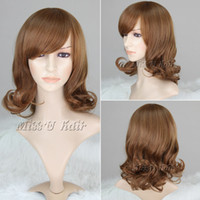 Cheap Best quality 40cm Fashion wigs for women Heat Resistent Fiber Curly wigs Brown Party