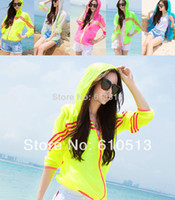 Wholesale 2014 Summer new UV Resistance skin coat Sun protection clothing anti uv Jackets thin Outerwear Beach Causal women active Hooded