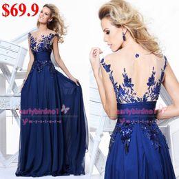 Wholesale Hot Selling Illusion Crew Neck Applique Sequins Lace Chiffon Hollow Vintage zuhair murad Celebrity Dresses Evening Gowns CPS011