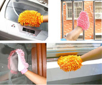Wholesale New sided Microfiber Chenille Mitt Car Wash Glove Cleaning Tool Supply Home Duster Cleaner Orange Blue Pink K07808