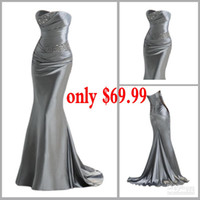 2014 Silver Mermaid bridesmaid dresses with strapless neckli...