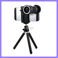For Apple iPhone   Universal Mobile Phone Holder +Phone Clip + 10x Zoom Camera Lens for iPhone 4 5S Samsung S5 HTC M8